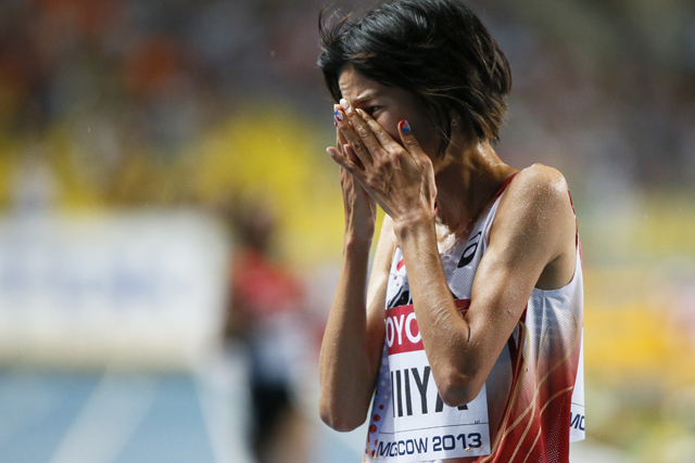 Niiya of Japan reacts after the women's 10,000 metres final during the IAAF World Athletics Championships at the Luzhniki stadium in Moscow