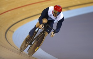 Britain's Chris Hoy rides to the finish in the track cycling men's team sprint gold finals at the Velodrome during the London 2012 Olympic Games