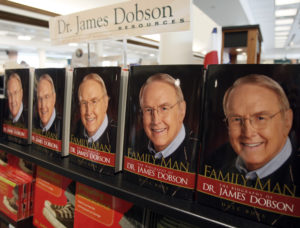 "Copies of ""Family Man"", the biography of Dr. James Dobson, founder of Focus on the Family, are seen in the bookstore at the Focus headquarters in Colorado Springs, Colorado July 20, 2007. Focus on the Family, a Christian non-profit ministry, says they are the world's largest dedicated to supporting families. Picture taken July 20, 2007. REUTERS/Rick Wilking (UNITED STATES) - RTR1S4CX"