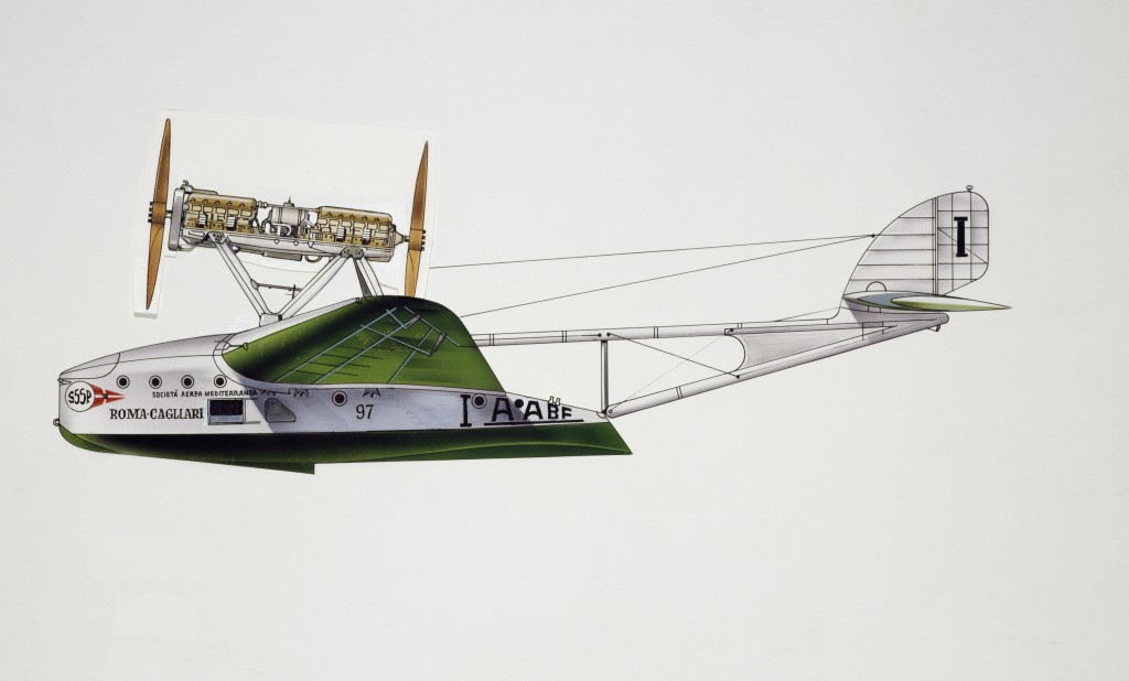 ITALY - AUGUST 02: Savoia-Marchetti S55 seaplane, Societa' Aerea Mediterranea, 1926, Italy, drawing. (Photo by DeAgostini/Getty Images)