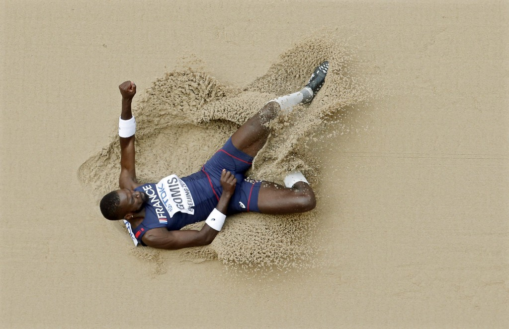 epa04895614 France's Kafetien Gomis competes in the men's Long Jump qualification during the Beijing 2015 IAAF World Championships at the National Stadium, also known as Bird's Nest, in Beijing, China, 24 August 2015.  EPA/DIEGO AZUBEL