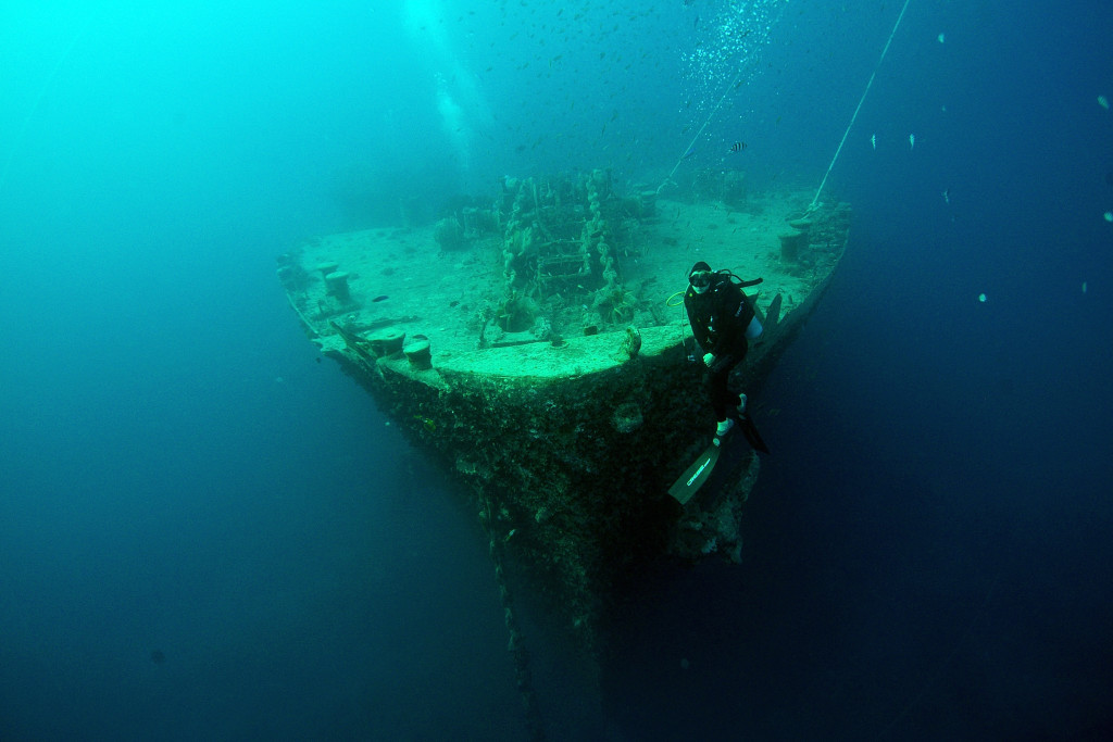 SHARM ASH SHAYKH, EGYPT - JULY 10: A view of the SS Thistlegorm's bow at the bottom of the Red Sea. The Thistlegorm, a British Merchant Navy ship, was sunk, en route to Egypt, by German bombers during World War II. A diving exhibition visited the site on July 10, 2015 in Sharm ash Shaykh, Egypt. (Photo by Dave J Hogan/Getty Images)
