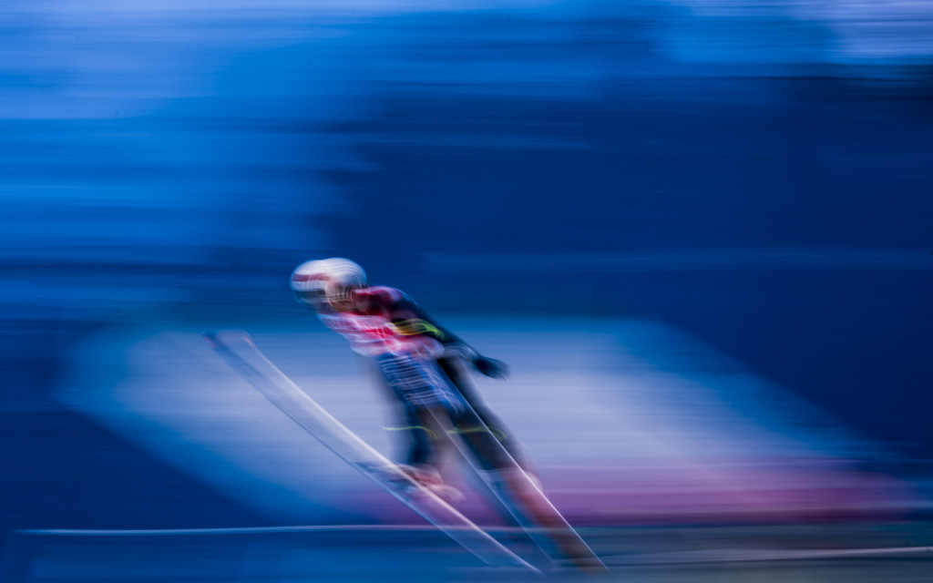 KLINGENTHAL, GERMANY - NOVEMBER 22: Long exposure shows ski jumper during the individual competition at the FIS World Cup Ski Jumping day three on November 22, 2015 in Klingenthal, Germany. (Photo by Matej Divizna/Bongarts/Getty Images)