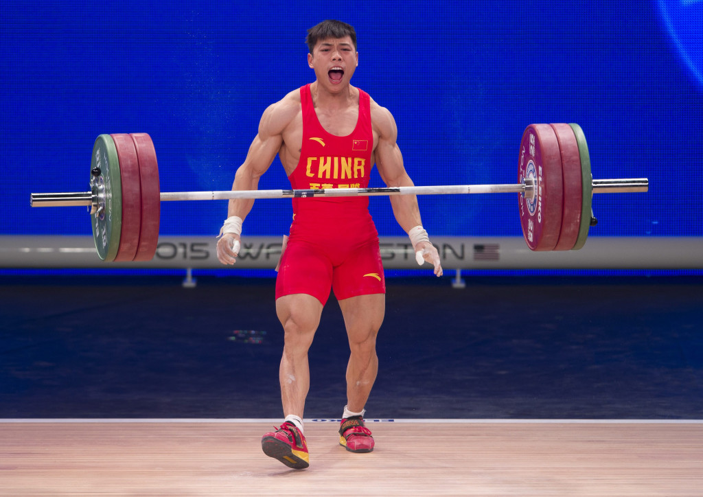 Nov 22, 2015; Houston, TX, USA; Lijun Chen, from China, takes the silver medal in the snatch portion of the men's 62kg group of the International Weightlifting Federation World Championships at George R. Brown Convention Center. Mandatory Credit: Jerome Miron-USA TODAY Sports