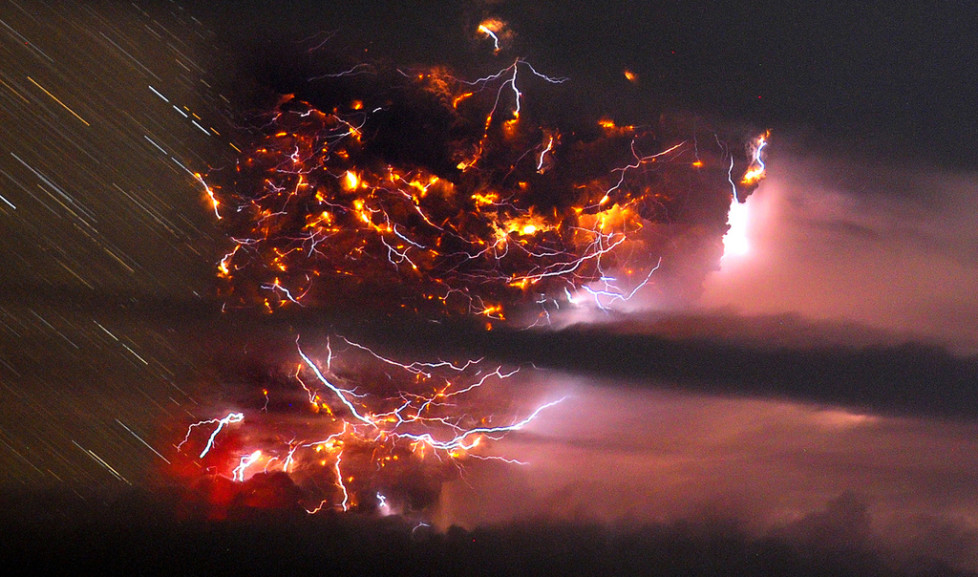 Volcanic lightning is seen over the Puyehue volcano, over 500 miles south of Santiago, Chile, Sunday June 5, 2011. Authorities have evacuated about 600 people in the nearby area. The volcano was calm on Sunday, one day after raining down ash and forcing thousands to flee, although the cloud of soot it had belched out still darkened skies as far away as Argentina. (AP Photo/Francisco Negroni, AgenciaUno) CHILE OUT, NO PUBLICAR EN CHILE, NO SALES