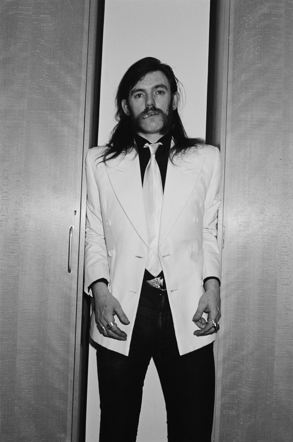 LONDON - FEBRUARY 01: singer and bassist Lemmy Kilmister from Motorhead posed backstage at Top Of The Pops TV Studios in London in February 1981. (Photo by Fin Costello/Redferns)