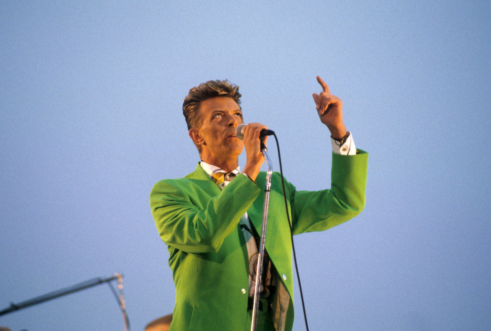 David Bowie during Tin Machine in Concert at the Pier - 1991 at Pier in New York City, New York, United States. (Photo by Ke.Mazur/WireImage)