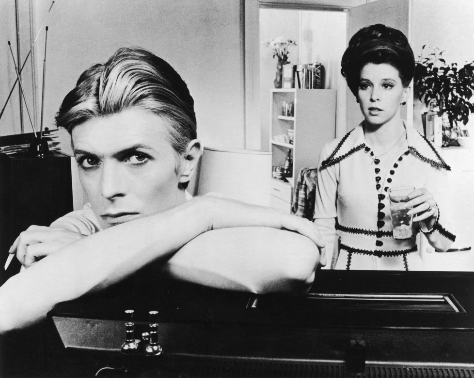 English actor, singer and musician David Bowie stars with Candy Clark in 'The Man Who Fell to Earth', 1976. (Photo by Archive Photos/Getty Images)