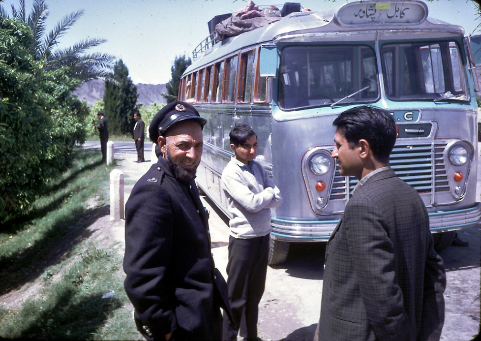 """""""""""In the spring of 1968,Êmy familyÊtook a public, long-distance, Afghan bus through the Khyber Pass to visit Pakistan (Peshawar and Lahore).Ê The road was rather bumpy in that direction, too.Ê As I recall, it was somewhat harrowing at certain points with a steep drop off on one side and a mountain straight up on the other!Ê I remember that, before we left Kabul,Êmy father paid for a young man to go around the bus with a smoking censor to bless the bus or ward off the evil eye.Ê I guess it worked - we had a safe trip."""" - Peg Podlich."""""""