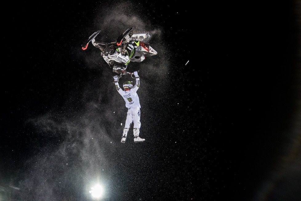 ASPEN, CO - JANUARY 29: Heath Frisby races during the snowmobile freestyle final at the Winter X Games 2016 Aspen at Buttermilk Mountain on January 29, 2016, in Aspen, Colorado. Frisby took home the silver medal in the event. (Photo by Chris Council/Getty Images)