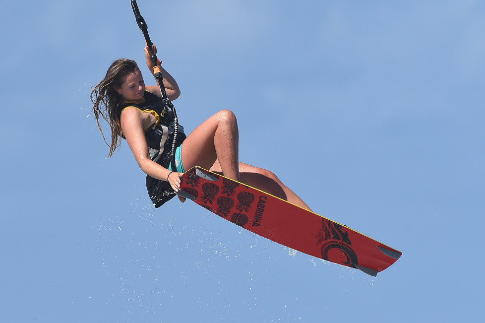 GOLD COAST, AUSTRALIA - FEBRUARY 21: Polly Crathorne warms up during the National Kiteboarding League on February 21, 2016 on the Gold Coast, Australia. (Photo by Matt Roberts/Getty Images)