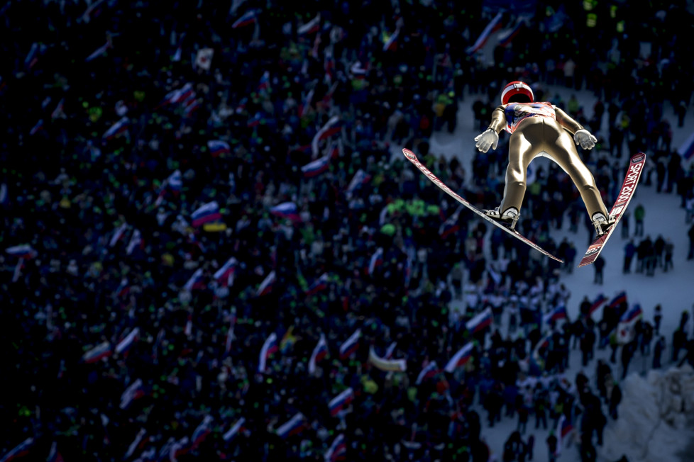 PLANICA, SLOVENIA - MARCH 19: Stephan Leyhe of Germany competes in the first run of flying hill team competition of the FIS Ski Jumping World Cup at Planica on March 19, 2016 in Planica, Slovenia. (Photo by Jan Hetfleisch/Getty Images)
