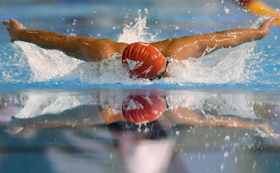 France's Thomas Vilaceca competes in the men's 200 butterfly series of the French swimming championship in Montpellier, on March 31, 2016. / AFP / PASCAL GUYOT