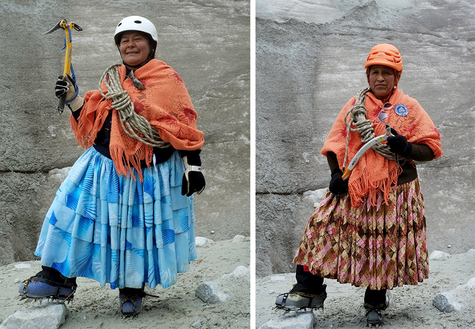 "Aymara indigenous woman Lidia Huayllas, 48, poses for a photograph at the Huayna Potosi mountain, Bolivia April 6, 2016. Two years ago, about a dozen Aymara indigenous women, aged 42 to 50, who worked as porters and cooks for mountaineers at base camps and mountain climbing refuges on the steep, glacial slopes of Huayna Potosi, an Andean peak outside La Paz, Bolivia, put on crampons under their wide traditional skirts and started to do their own climbing. REUTERS/David Mercado SEARCH ""CHOLITA CLIMBERS"" FOR THIS STORY. SEARCH ""THE WIDER IMAGE"" FOR ALL STORIES"