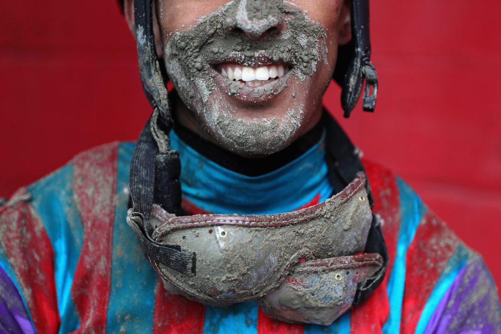 BALTIMORE, MD - MAY 21: Jockey Victor Carrasco poses for a portrait after jockeying Never Stop Looking in The 2nd Running of the Old Bay Race prior to the 141st running of the Preakness Stakes at Pimlico Race Course on May 21, 2016 in Baltimore, Maryland. (Photo by Patrick Smith/Getty Images)