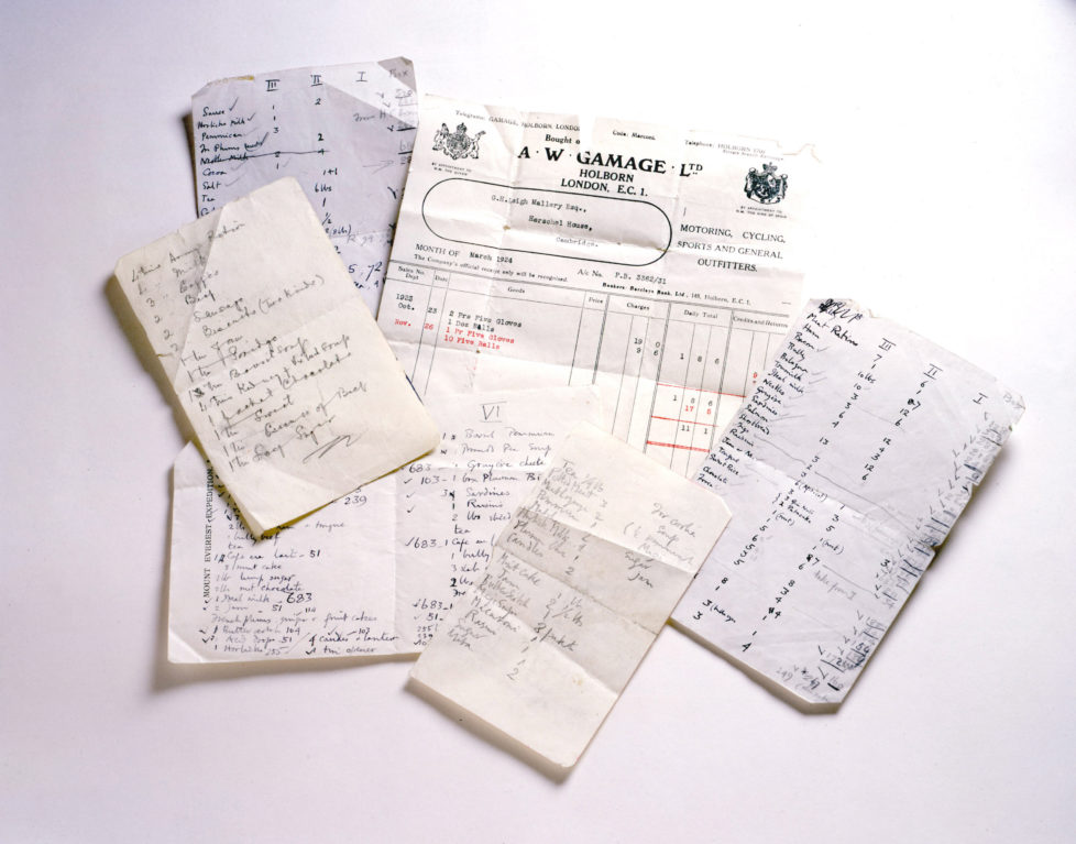 F 352968 001 1999 Usa Climbing Artifacts Belonging To Everest Mountaineer George Mallory Gear Inventory Lists And An Unpaid Bill Found In Mallory's Pocket. (Photo By Jim Fagiolo/Mallory & Irvine/Getty Images)