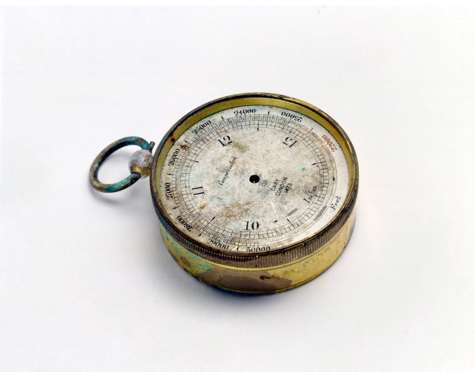 F 352968 002 1999 Usa Climbing Artifacts Belonging To Everest Mountaineer George Mallory A Altimeter Found In Mallory's Pocket. (Photo By Jim Fagiolo/Mallory & Irvine/Getty Images)