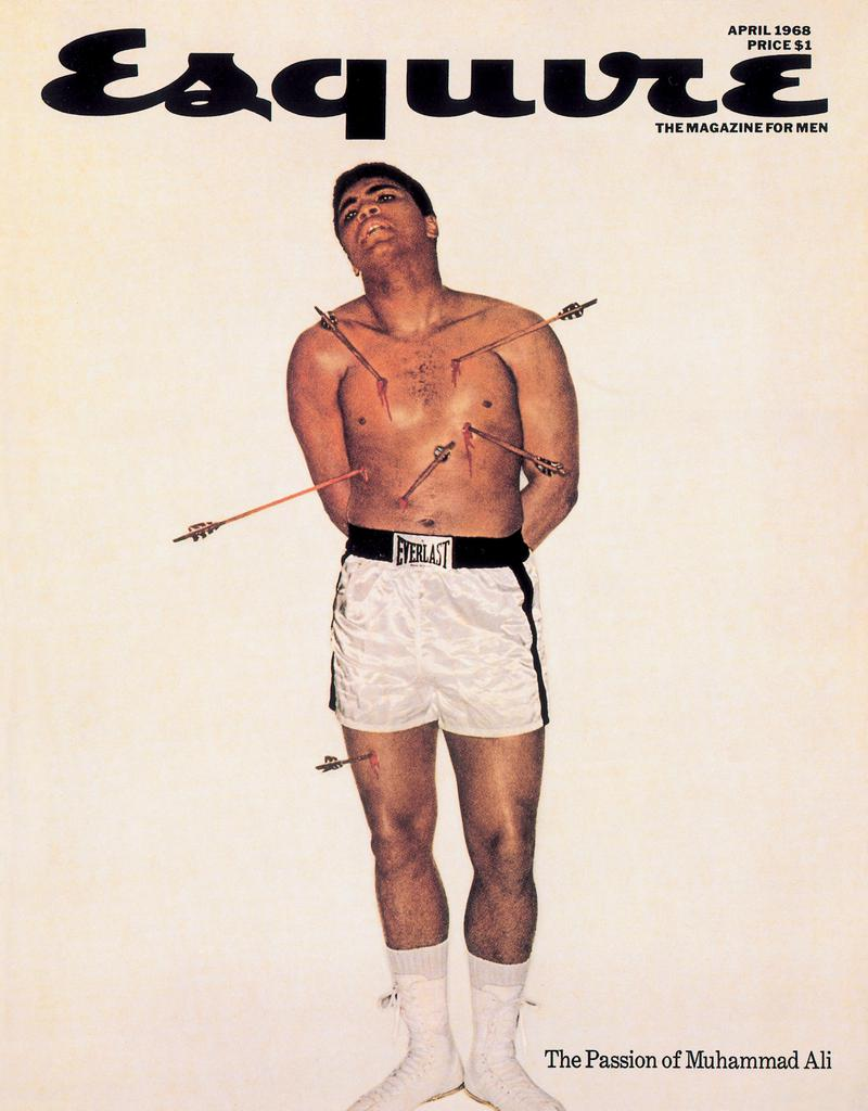 "This undated photo released by the Museum of Modern Art shows the April 1968 cover of Esquire Magazine, which shows Muhammad Ali posing as St. Sebastian pierced with arrows. The magazine cover, designed by George Lois, was one of the most iconic images of the decade, tying together the incendiary issues of Vietnam, race and religion. Now his work is showcased in an exhibit at the Museum of Modern Art titled ""George Lois: The Esquire Covers,"" that will showcase 32 of his famous covers. (AP Photo/Museum of Modern Art) ** NO SALES **"