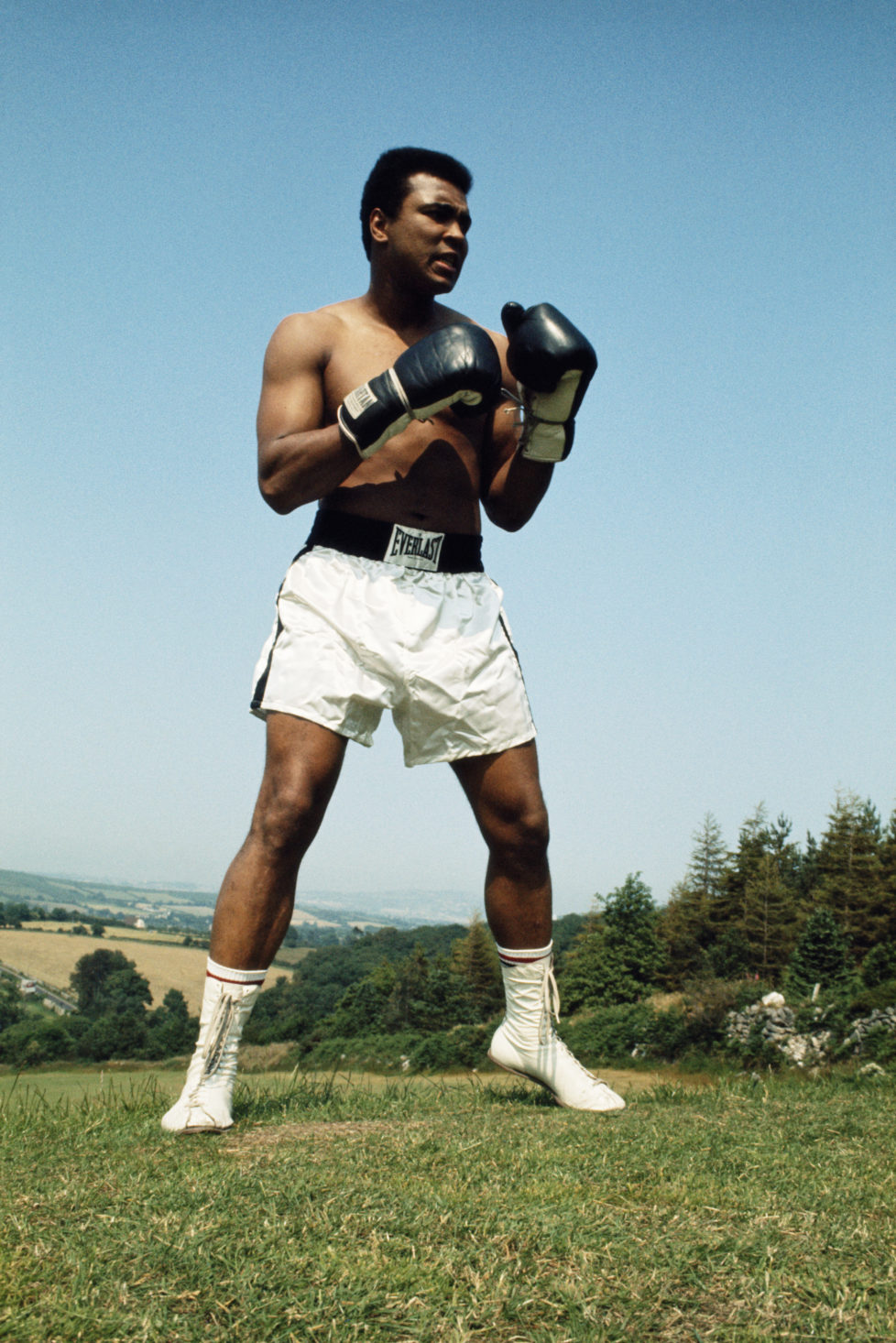 Muhammad Ali during training on 10 July 1972 for his fight with Al 'Blue' Lewis held at Croke Park in Dublin, Republic of Ireland. (Photo by Don Morley/Getty Images)