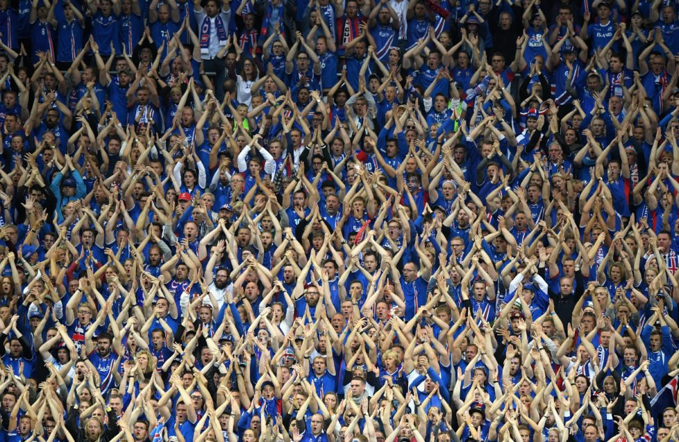 PARIS, FRANCE - JULY 03: Iceland fans show their support during the UEFA EURO 2016 quarter final match between France and Iceland at Stade de France on July 3, 2016 in Paris, France. (Photo by Matthias Hangst/Getty Images)
