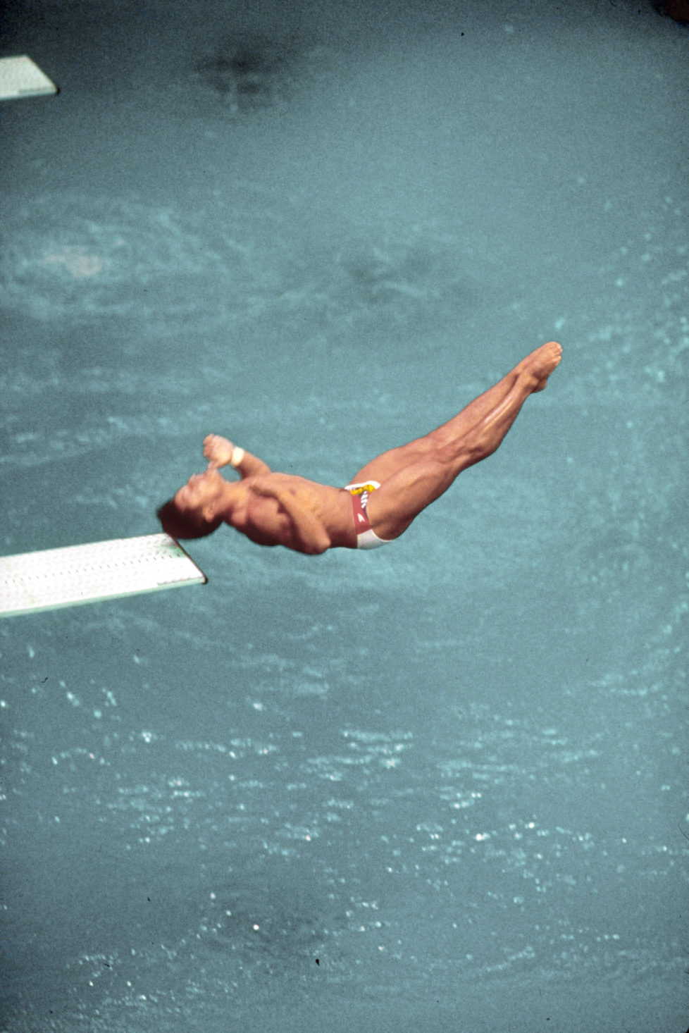US diver Greg Louganis making dive during which he hit his head on the board while competing in Olympics. (Photo by Rich Clarkson/The LIFE Images Collection/Getty Images)