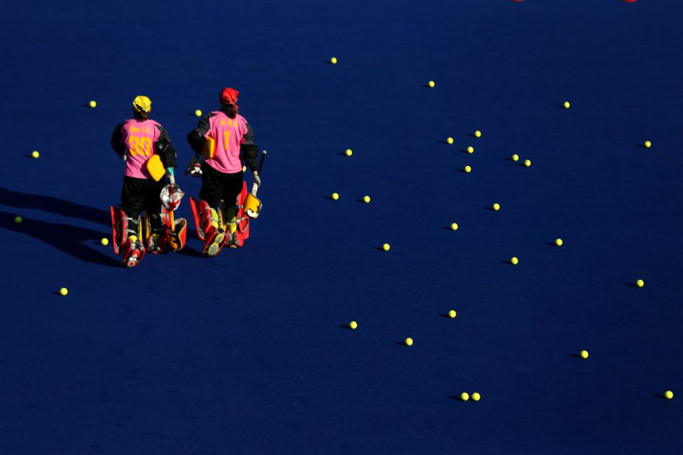 RIO DE JANEIRO, BRAZIL - JULY 31: Women's field hockey players of China train at Olympic Hockey Center ahead of the 2016 Summer Olympic Games on July 31, 2016 in Rio de Janeiro, Brazil. (Photo by Sean M. Haffey/Getty Images)