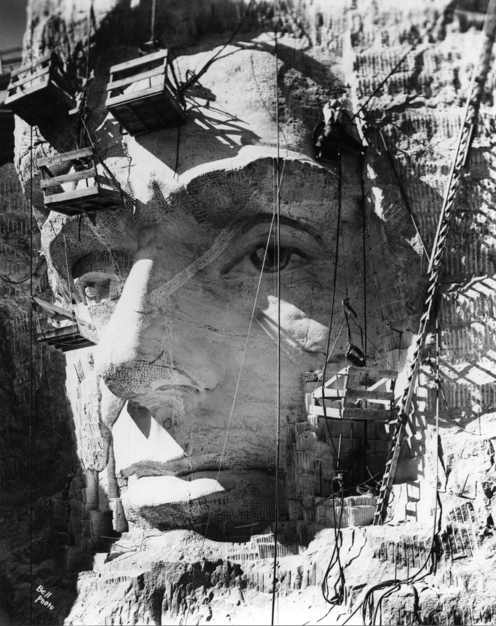 Close-up of Lincoln Head at Mount Rushmore under construction, South Dakota, September 16, 1937. (Photo by PhotoQuest/Getty Images)