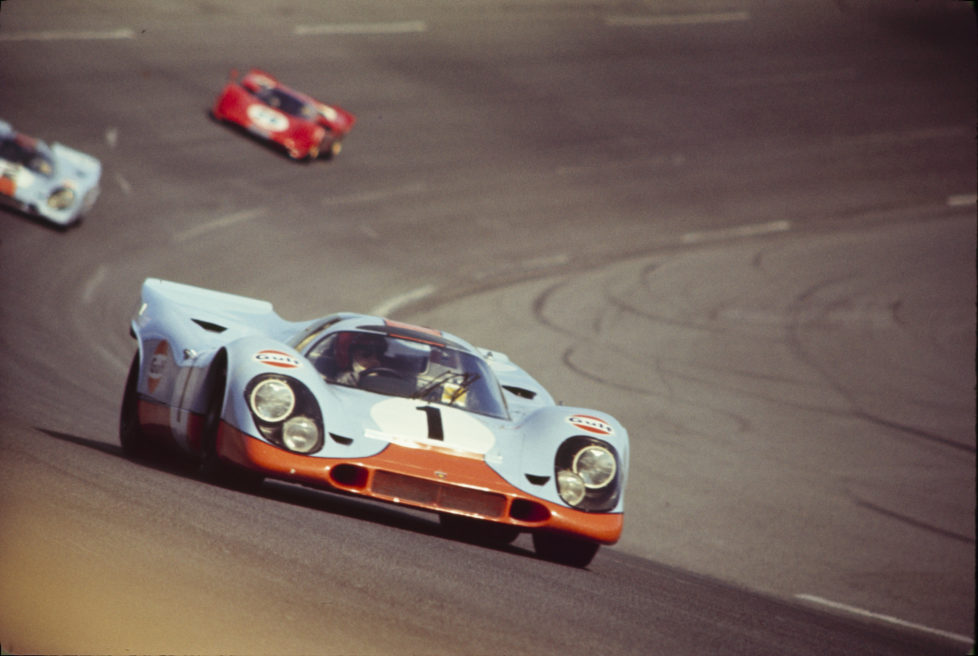 UNITED STATES - FEBRUARY 02: Daytona 24 Hour Race - 1970. Jo Siffert; Brian Redman drive their J.W Engineering Gulf Porsche 917 K. (Photo by The Enthusiast Network/Getty Images)