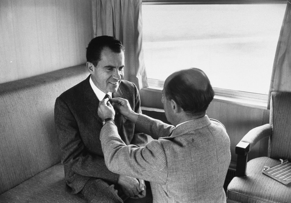 Life photographer Alfred Eisenstaedt adjusting Republican presidential candidate Richard Nixon's tie during his campaign. (Photo by Alfred Eisenstaedt/The LIFE Picture Collection/Getty Images)