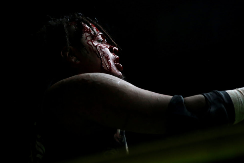 "Wrestler known as Ciclope is seen during an extreme wrestling fight at the Arena Neza on the outskirts of Mexico City, Mexico, October 28, 2016. REUTERS/Carlos Jasso SEARCH ""LUCHA"" FOR THIS STORY. SEARCH ""WIDER IMAGE"" FOR ALL STORIES. - RTX2UAHJ"