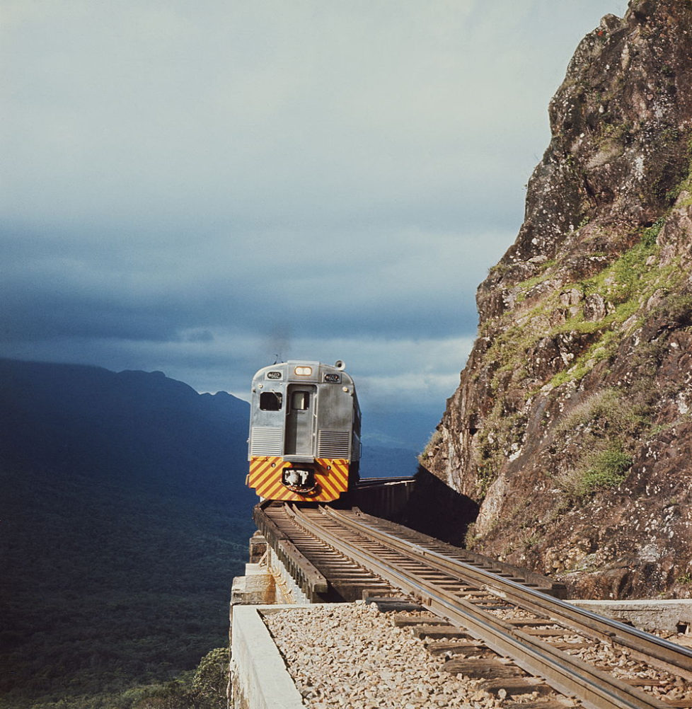 A train on a sheer mountain track in Brazil, circa 1960. (Photo by Manchete/Pictorial Parade/Getty Images)