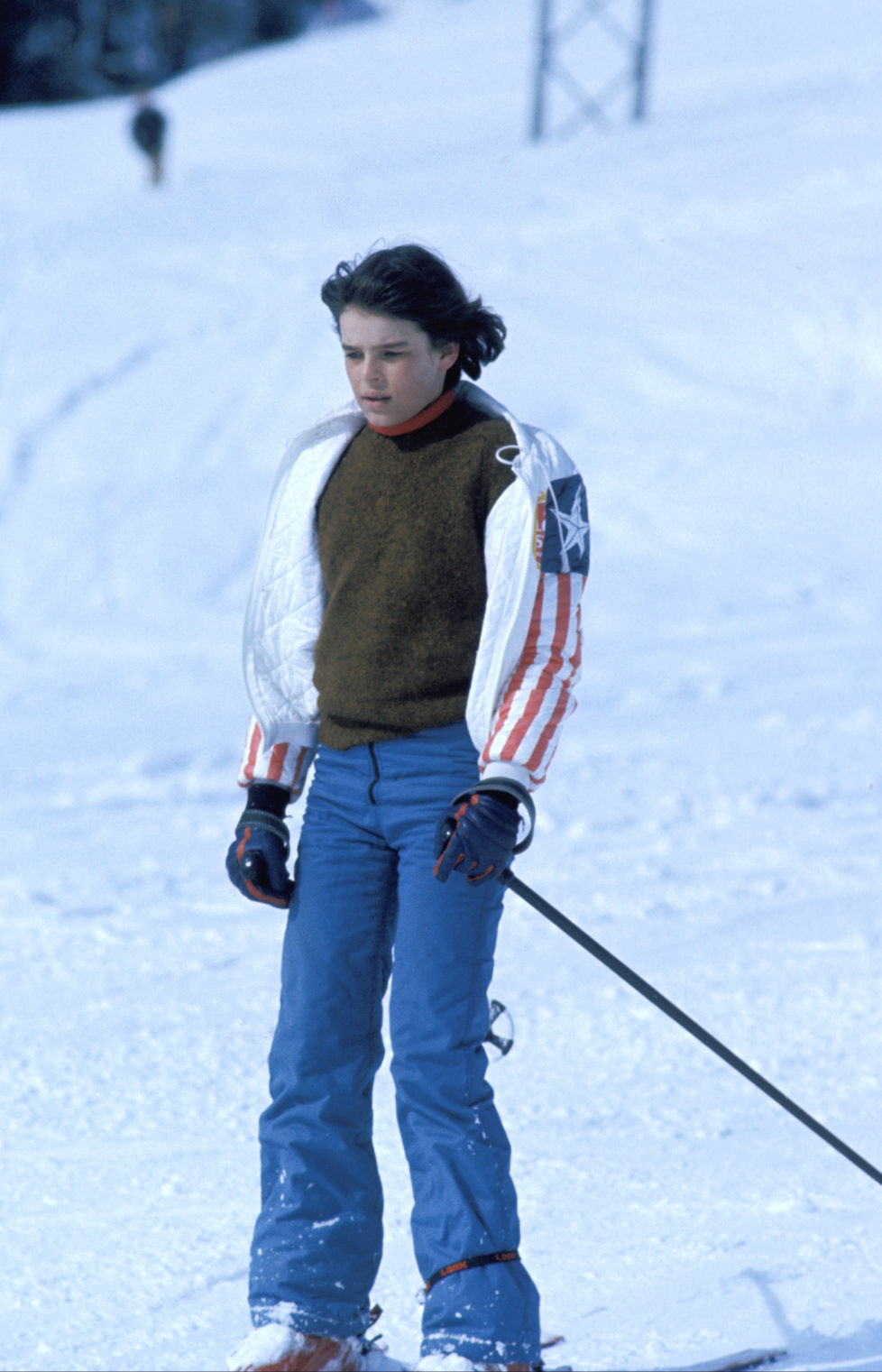 Gstaad, Switzerland -- 1 March 1977, Princess Stephanie of Monaco skiing at Gstaad., (Photo by Francis Apesteguy/Getty Images) *** Local Caption ***