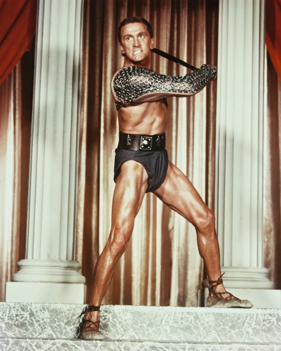 American actor Kirk Douglas plays the gladiator leader of a Roman slave revolt in 'Spartacus', directed by Stanley Kubrick', 1960. (Photo by Silver Screen Collection/Hulton Archive/Getty Images)