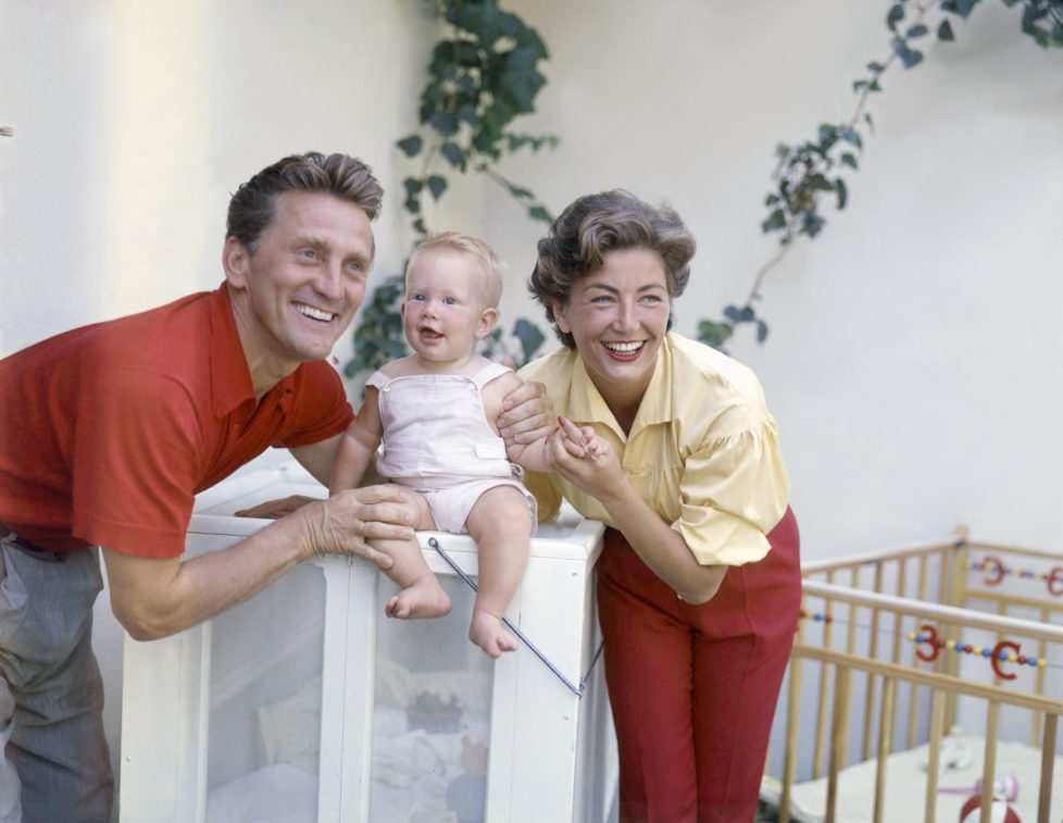 American actor Kirk Douglas with his wife German American producer Anne Buydens and their fourth son Eric. (Photo by Sunset Boulevard/Corbis via Getty Images)